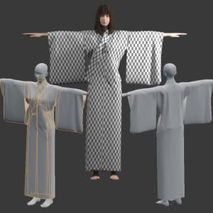 浴衣を作ろう6[Blender 3DCG 女の子]