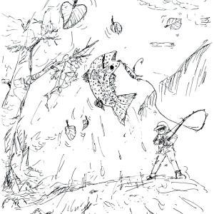 渚滑川本流に落ち葉が舞う(北海道絵日記紀行3)