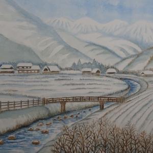 中国山間地 雪の里山