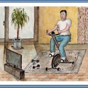 エクササイズ バイク (2004) 水彩画