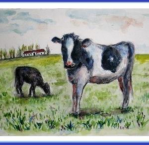 牧場で、牛さんのんびり