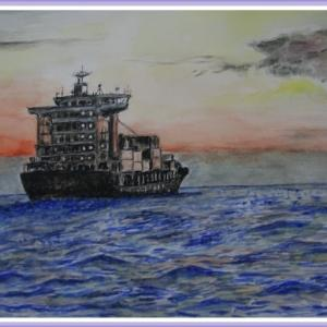 航海中のコンテナ船 (2105)