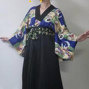 長襦袢にスカートで京都アンティークフェアへ
