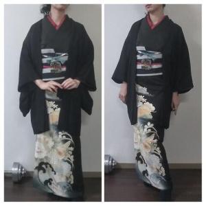 アンティーク黒留袖で京都の着物屋さんとイルミ