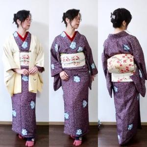 祖母の総絞りの着物に母の絵羽織コーデ
