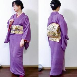 紫の着物にお目出度い帯 衝動的着物願望を考察