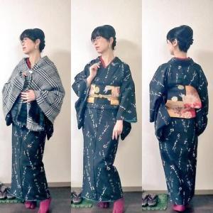 くずし字の着物で京都弘法市とふくふく市へ