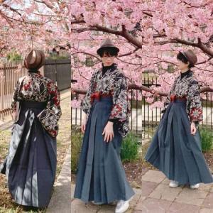 銘仙に袴スタイルでいち早い河津桜でお花見