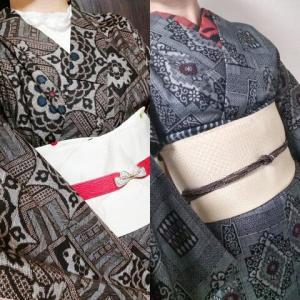大島紬に白い帯で遠隔双子コーデ、のはずだった