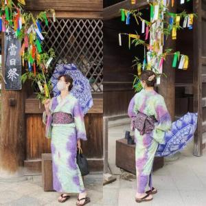 有松絞り浴衣で京都へ 七夕の北野天満宮