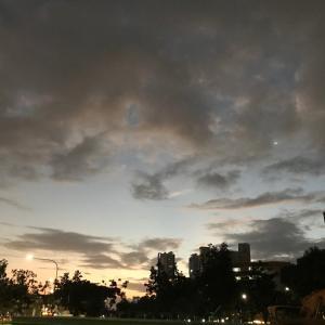 朝の空とニューイヤーカード。
