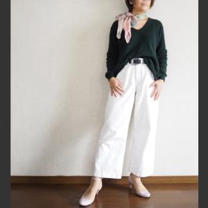 【50代コーデ】白パンツでコーデ