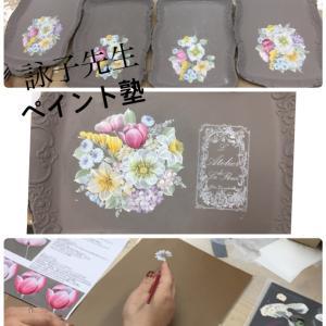 詠子先生ペイント塾2019 1回目♡フラワーのストロークブーケ