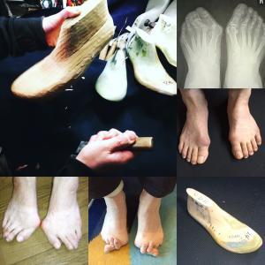 足の快適な履き心地の確保。木型から