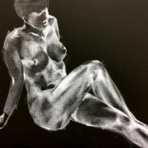 Nude-Muse-angel-Tableau-ヌード-芸術-アート-絵画:闇夜
