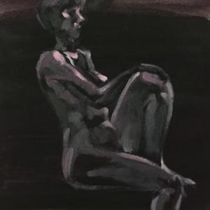 Nude-Muse-angel-Tableau-ヌード-芸術-アート-絵画:真夜中