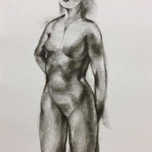 Nude-Muse-angel-Tableau-ヌード-芸術-アート-絵画:凛として