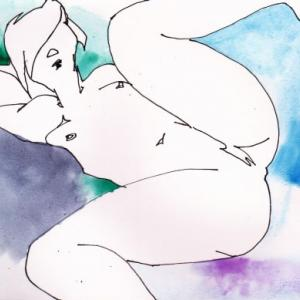 Nude-Muse-angel-Tableau-ヌード-芸術-アート-絵画:足上げ
