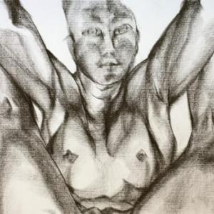 Nude-Muse-angel-Tableau-ヌード-芸術-アート-絵画:豊年満作