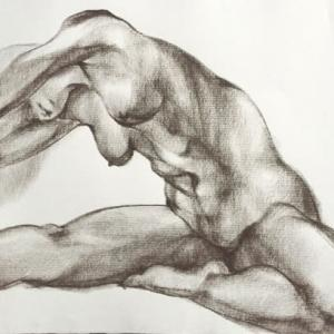 Nude-Muse-angel-Tableau-ヌード-芸術-アート-絵画:柔軟