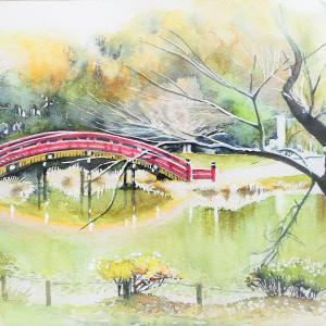 桜の老木と反橋と 称名寺の風景