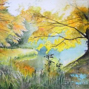 陽光を受けて輝く、阿字が池の畔