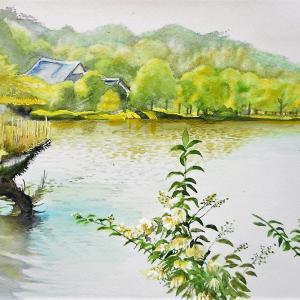 大池越しに鶴翔閣を望む 三渓園の風景より