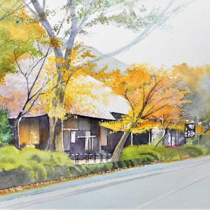 少し早い紅葉風景 箱根峠の甘酒茶屋