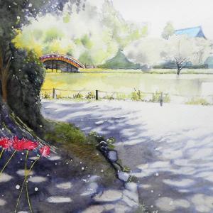 彼岸花の咲く阿字が池の畔