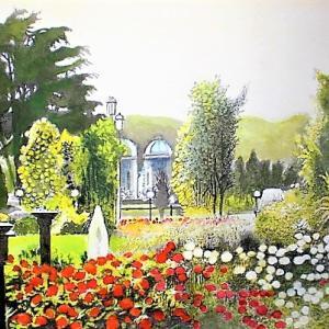 赤白のバラが彩るヴェルニー公園