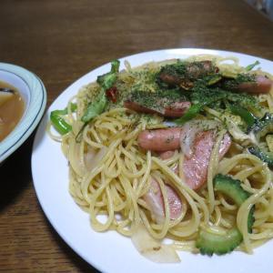 ゴーヤ入りペペロンチーノとオクラ入り冷麺