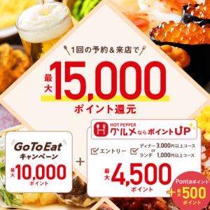 GoToEat×ホットペッパー GoToEatポイント+独自ポイントさらにもらえる!ランチが300円に!