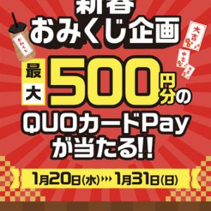 【大量当選】エディオンで使えるクオカードペイ最大500円当たる!