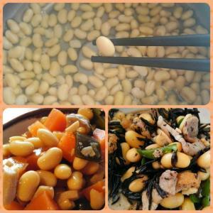 家に居る、豆を煮る