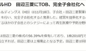 田辺三菱製薬 上場廃止