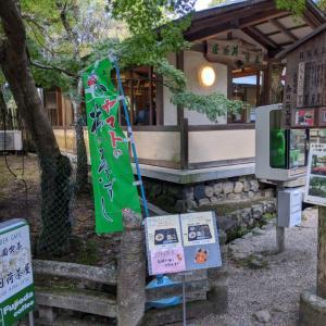奈良観光。春日大社近くの春日荷茶屋でさつま芋・栗のお粥と柿の葉すしが付いた大和名物膳