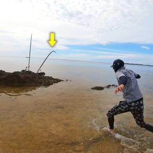 【打ち込み釣り】台風の後、濁った海に現れる謎の大物を狙った結果…ドラグ出まくり!【カミヤマライトゲーム】
