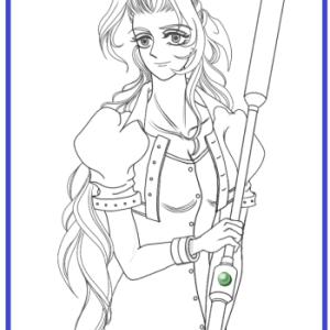 FF7のエアリスの線画だけ描きました。