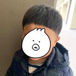 次男2歳*セルフきのこカット
