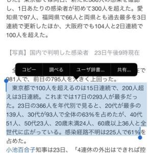 東京一気に360人を超えた