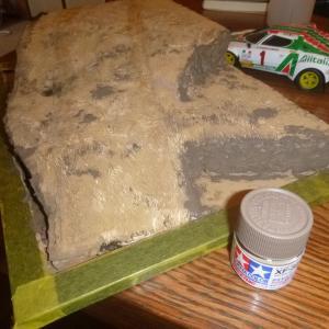 ジオラマ地面タイヤ痕:ハセガワ 1/24 ランチァ ストラトス 1977 モンテカルロラリー ウィナー プラモデル CR32