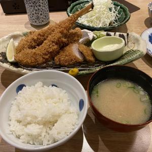 林口三井アウトレットとんかつ勝政で鮟鱇カキフライヒレカツ膳