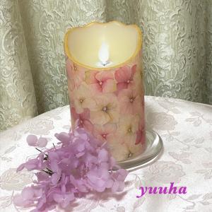 【デコパージュ作品】紫陽花のLEDキャンドル