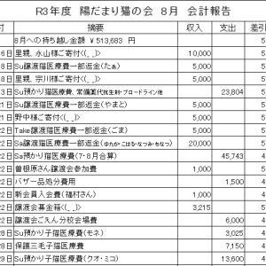 2021年 令和3年度  8月 会計報告