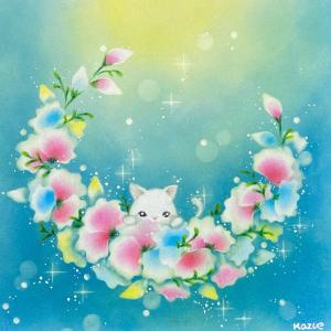 スイートピーリース~煌~ 猫さんとキラキラリース