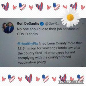 「コロナワクチンを接種しないことで 仕事を失うことがあってはならない」No one should lose their job because of COVID shots.  Ron DeSantis