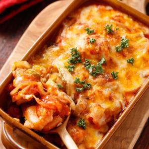 白菜とチキンの無水♡トマトチーズ焼き【#作り置き #冷凍保存 #おもてなし #イベントご飯 #簡単 #時短 #節約 #主菜】