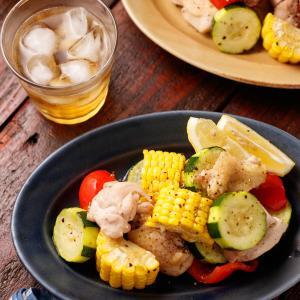 チキンと夏野菜のグリルサラダ【#簡単 #時短 #節約 #おつまみ #洗い物減 #トースター #クレハタイアップ #PR】