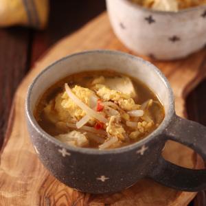崩し豆腐ともやしの中華たまごスープ【#簡単 #時短 #節約 #具沢山 #包丁不要 #ヘルシー #ダイエット #スープ】