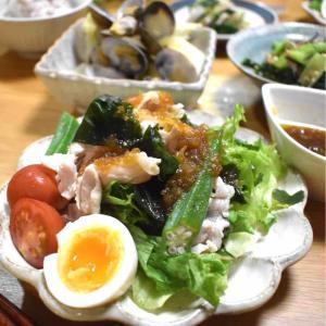 【レシピ】豚しゃぶとわかめのオニオンドレッシングサラダ#ドレッシング#万能ダレ#作り置き#野菜サラダ
